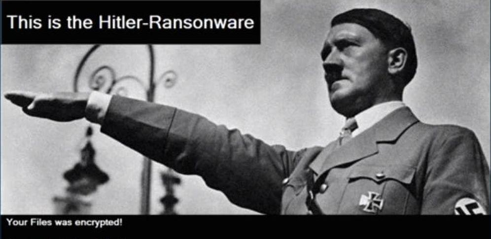 Foto: La imagen de Hitler que preside los monitores de los usuarios infectados por este virus.