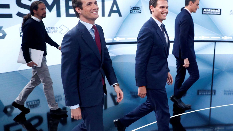Pablo Iglesias, Pablo Casado, Albert Rivera y Pedro Sánchez, en el debate de Atresmedia. (Reuters)