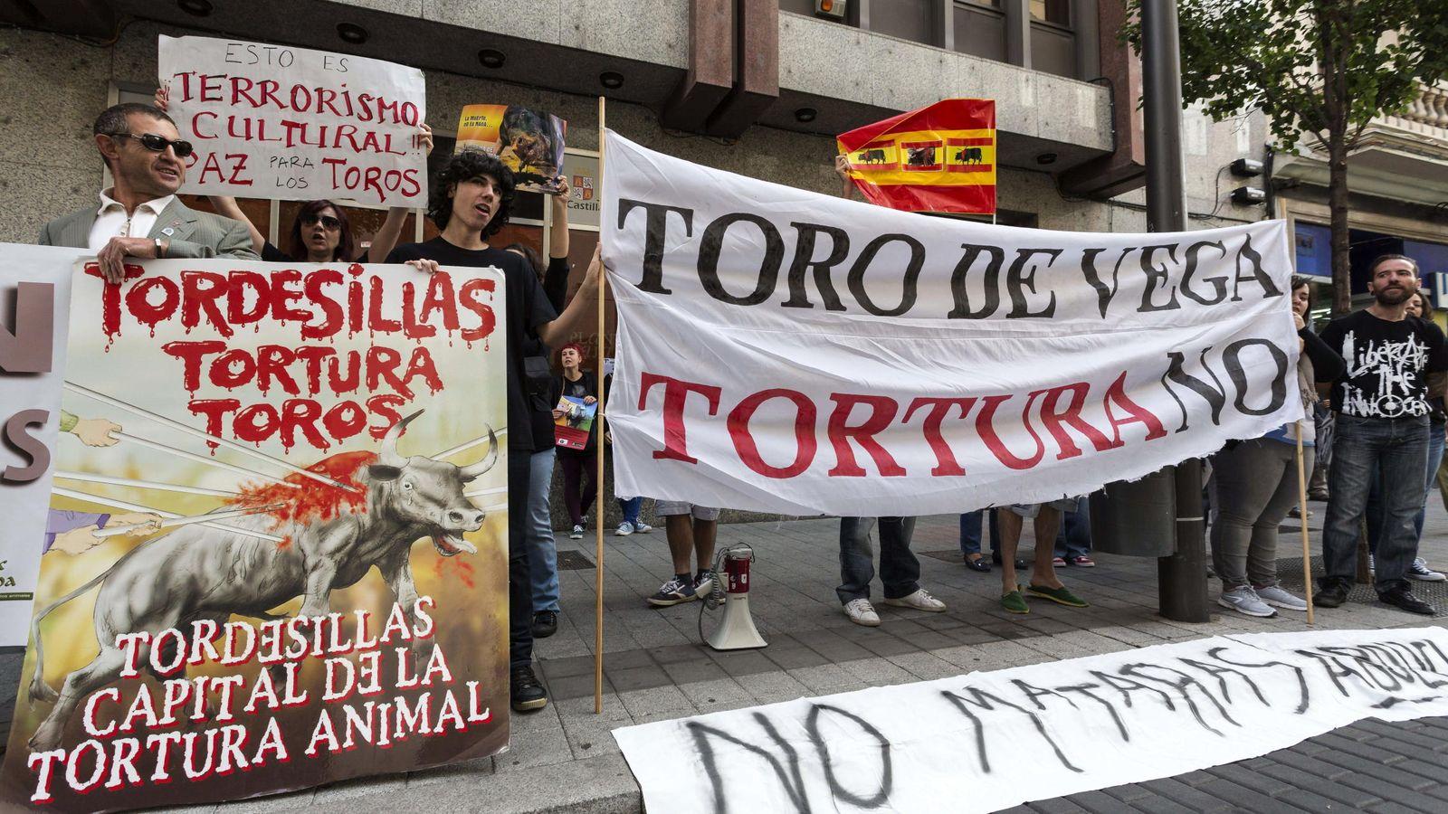 Foto: Manifestación en contra del Toro de la Vega. (EFE)