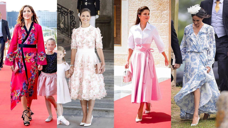 Mary de Dinamarca, Victoria de Suecia, Rania de Jordania y Meghan Markle. (Cordon Press / Getty / Instagram @Aquazzura)