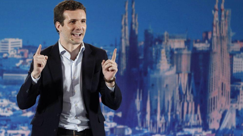 Foto: Pablo Casado, presidente del PP, en un momento de su intervención en Barcelona. (EFE)