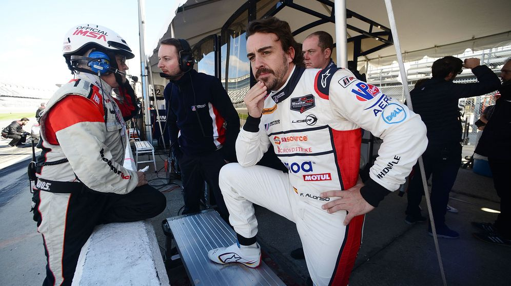 Foto: Fernando Alonso, este domingo en Daytona Beach. (EFE)