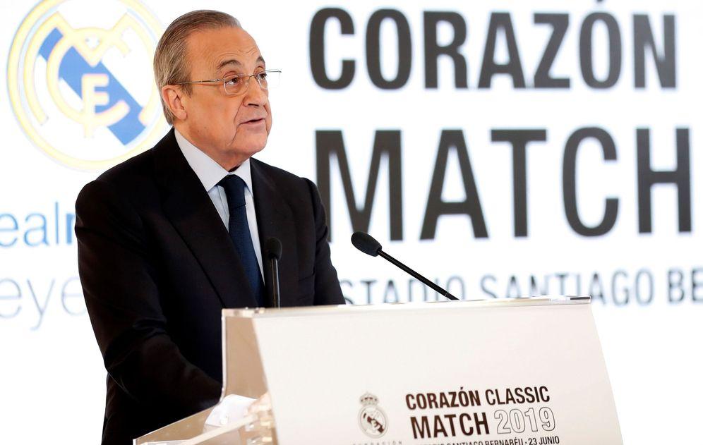 Foto: Florentino Pérez, presidente del Real Madrid, en una presentación la semana pasada. (EFE)