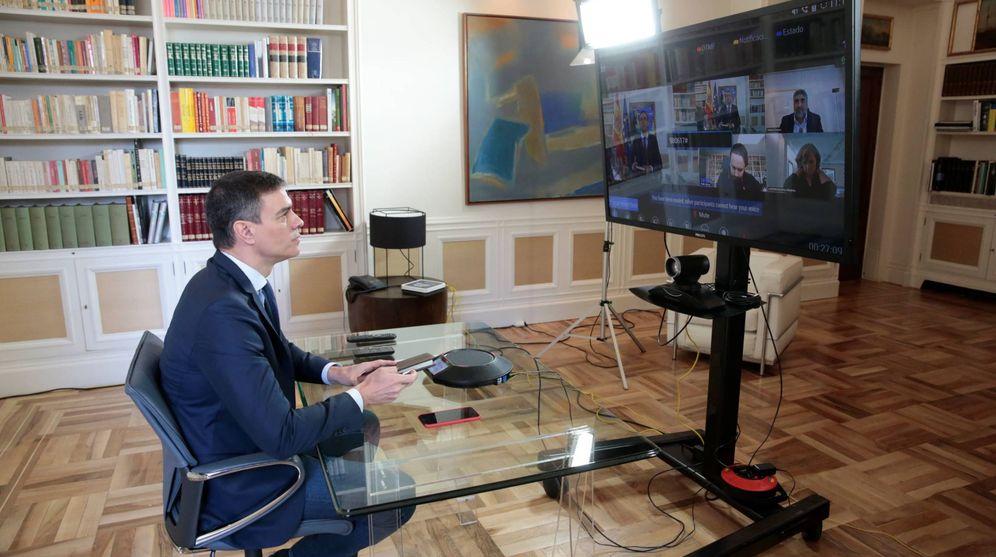 Foto: Pedro Sánchez preside la reunión interministerial del coronavirus, este 13 de marzo de 2020 desde la Moncloa. (Pool Moncloa)