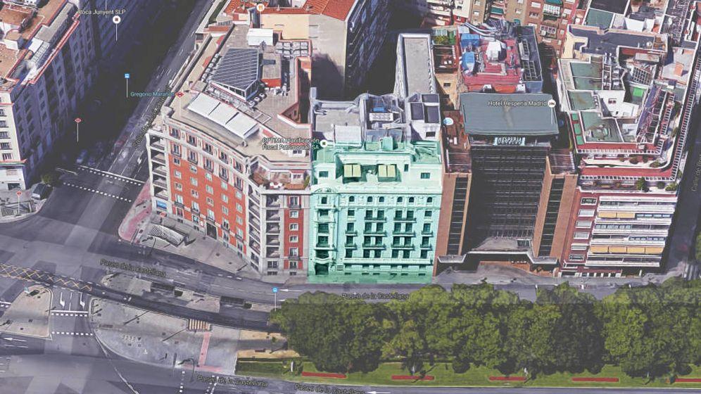 Foto: Imagen aérea del edificio situado en el paseo de la Castellana 55.