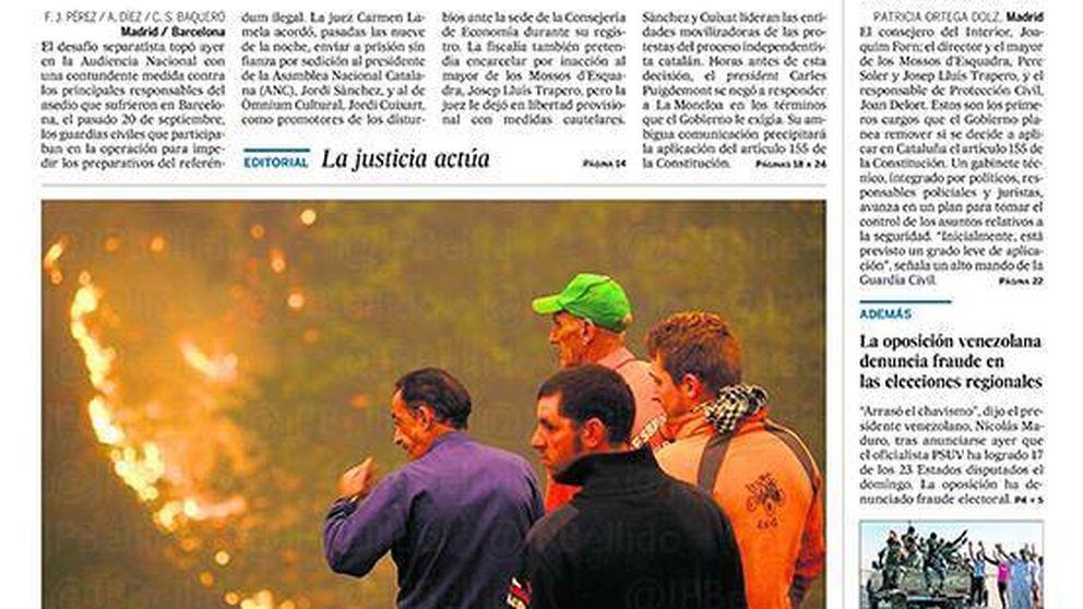 El encarcelamiento de los 'Jordis', en las portadas de los periódicos nacionales