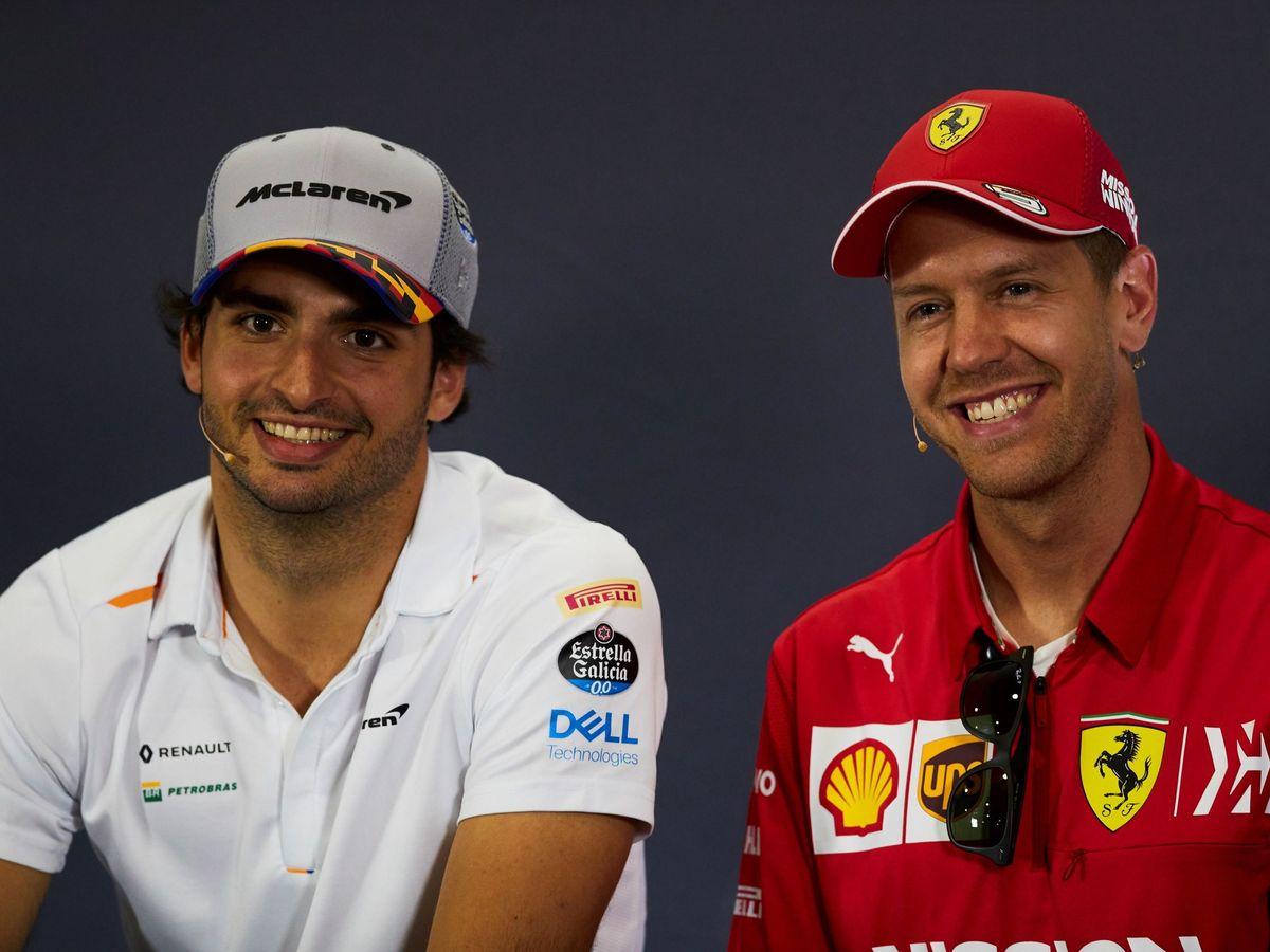 Foto: Carlos Sainz y Sebastian Vettel en la rueda de prensa del GP de España de 2019. (EFE)