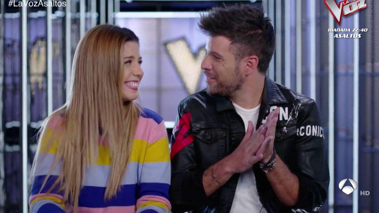 Miriam Rodríguez y Pablo López en los ensayos de 'La Voz'. (Atresmedia Televisión)