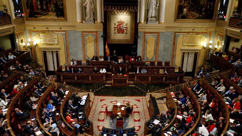 Foto: Vista general del hemiciclo con la intervención del secretario general del PSOE, Pedro Sánchez. (EFE)