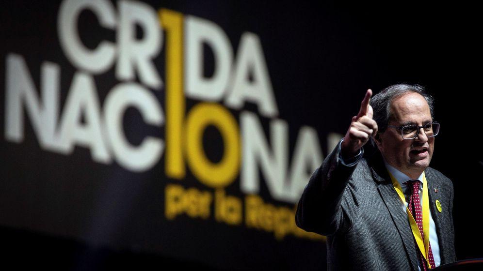 Foto: El presidente de la Generalitat, Quim Torra, durante el acto de clausura del congreso constituyente de la Crida Nacional per la República. (EFE)