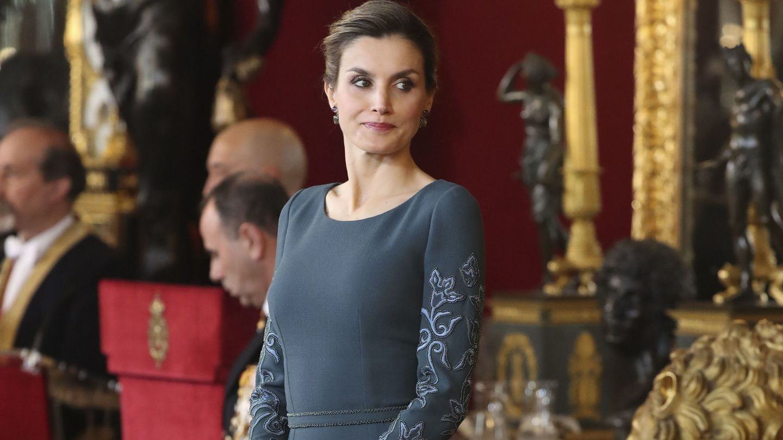 La Reina durante la recepción en el Palacio Real (Efe)