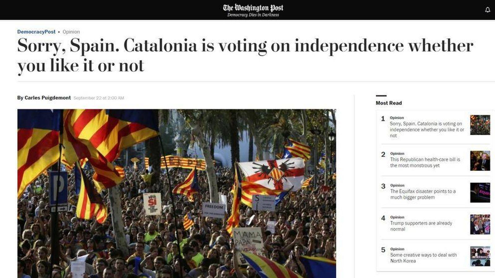 Foto: Artículo de Carles Puigdemont en 'The Washington Post'