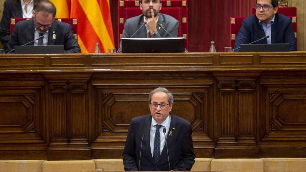 Foto: El presidente de la Generalitat, Quim Torra, durante su intervención en el pleno de política general. (EFE)