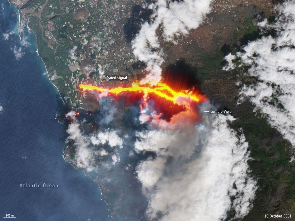 Foto: El volcán de La Palma, visto desde el cielo. (ESA)