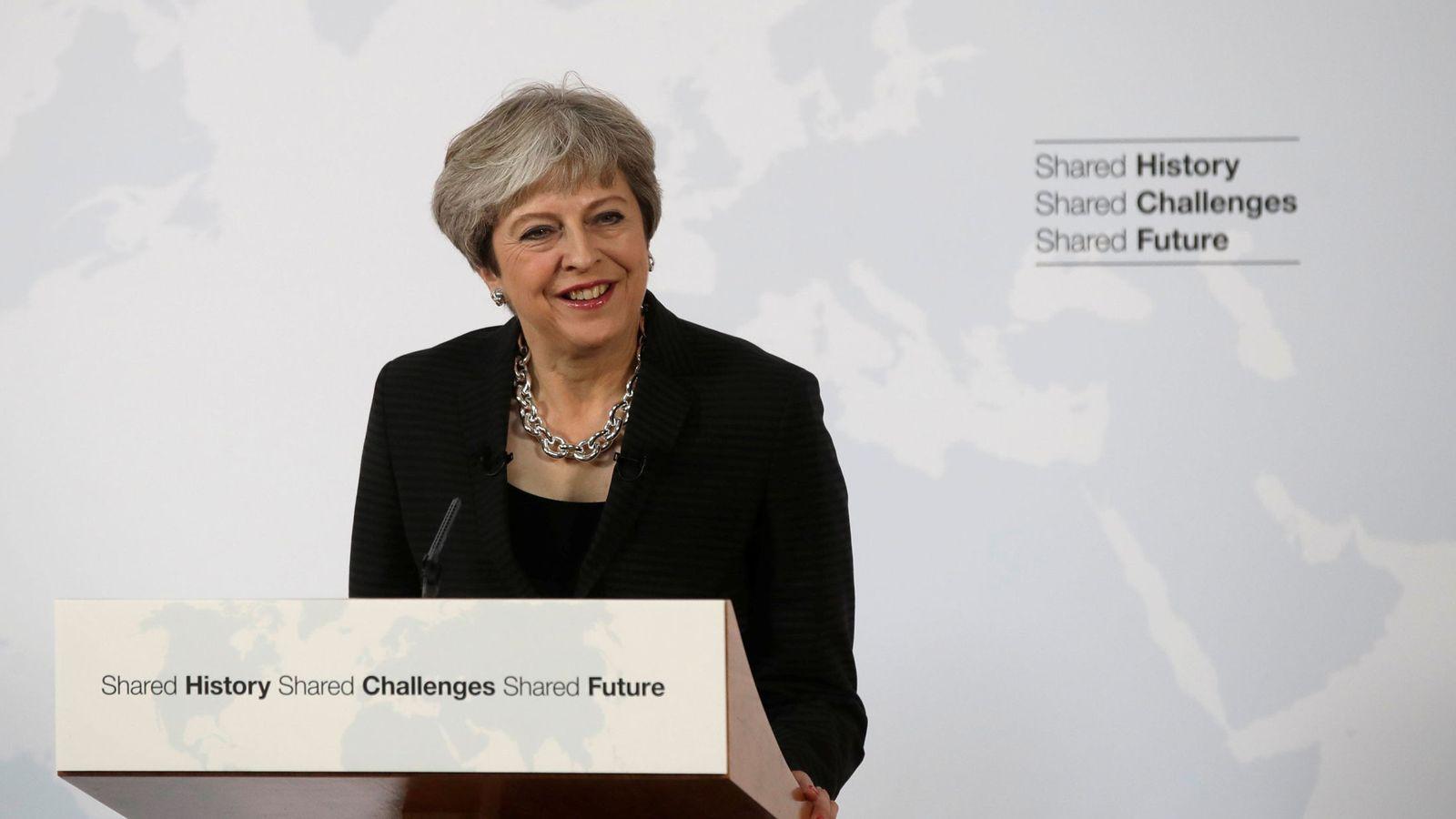 Foto: La primera ministra británica, Theresa May, durante su discurso en Florencia. (Reuters)