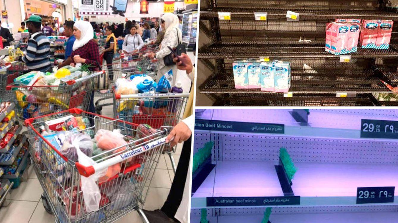 Miedo al desabastecimiento en Qatar: largas colas en los supermercados (ya casi vacíos)