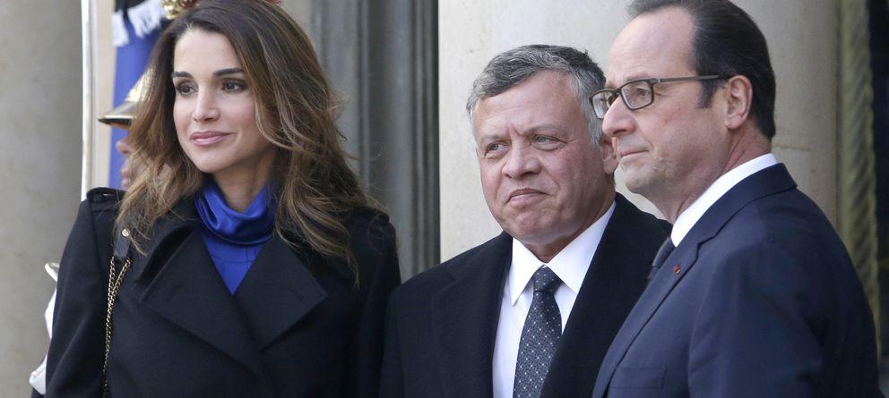 Foto: Rania, el rey Abdalá y François Hollande este domingo en París (Gtres)