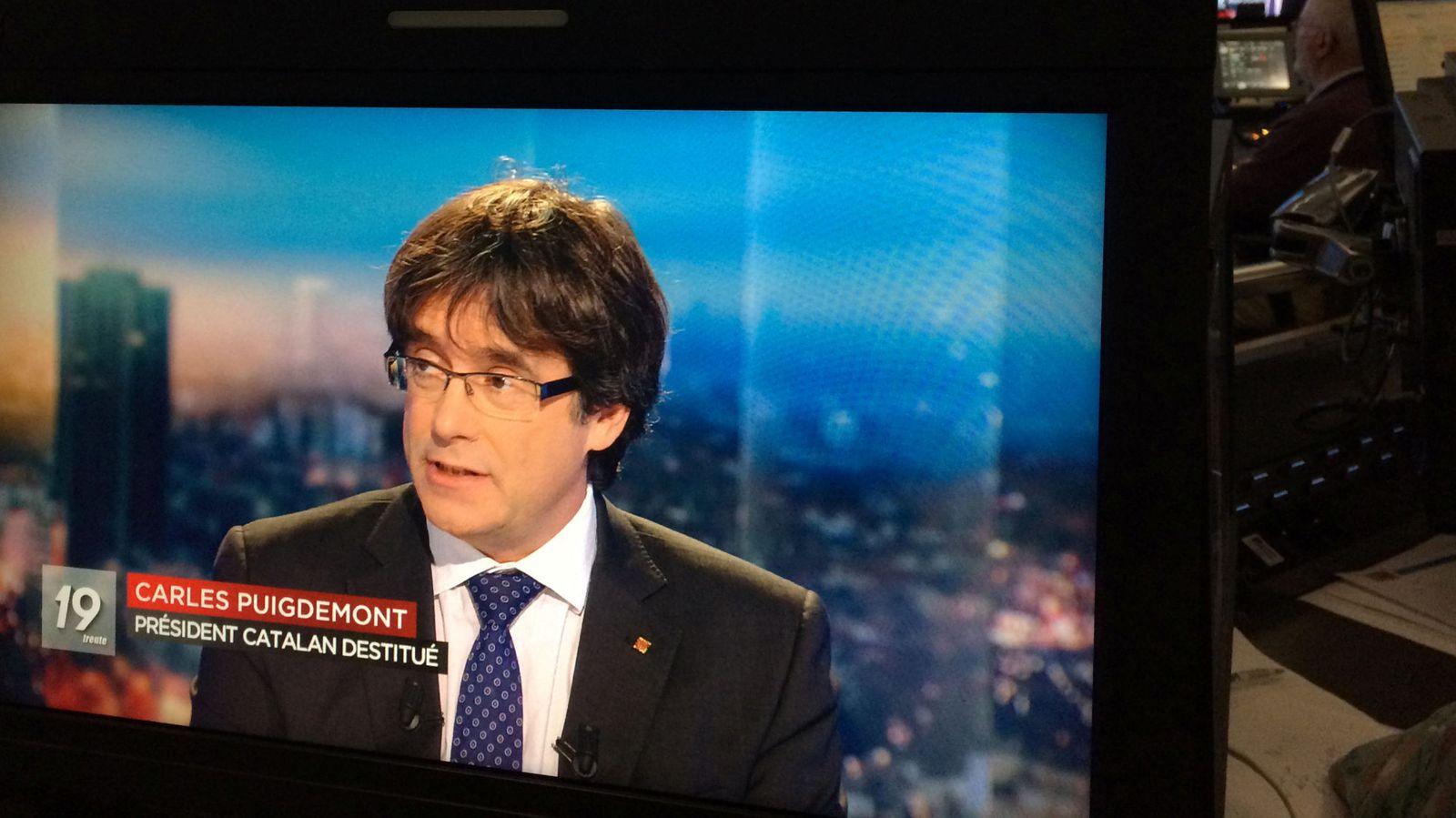 Foto: El expresident Carles Puigdemont durante su entrevista en la televisión belga. (Reuters)