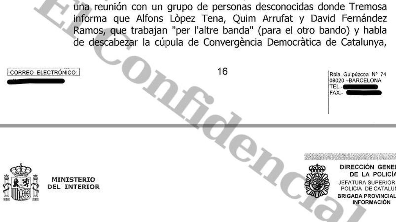 Fragmento del informe del CNP de Barcelona sobre la operación Loki