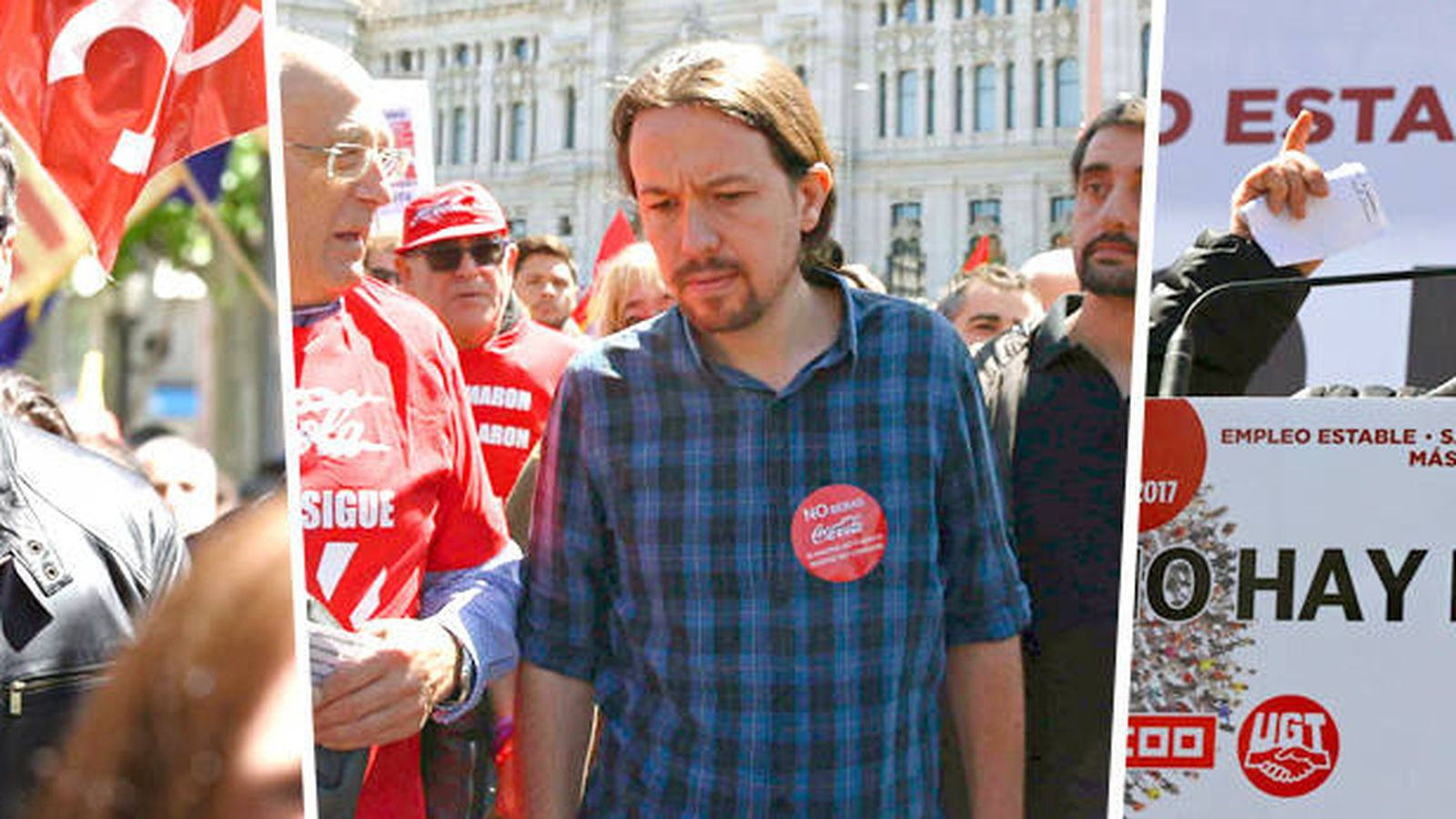 Foto: Pedro Sánchez, Pablo Iglesias e Ignacio Fernández Toxo