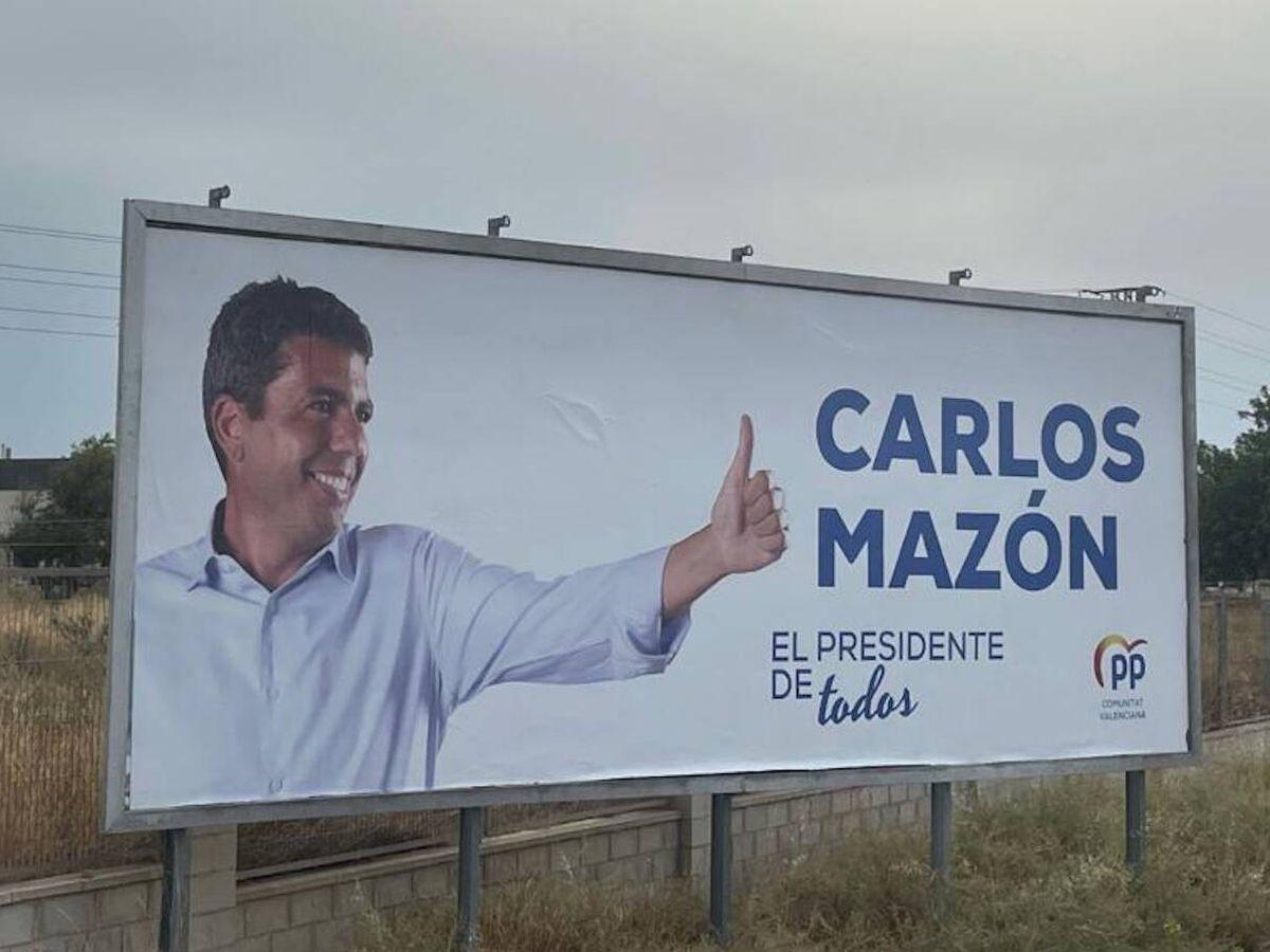 Foto: Una de las vallas de la campaña desplegada por el PP en la Comunidad Valenciana. (PPCV)