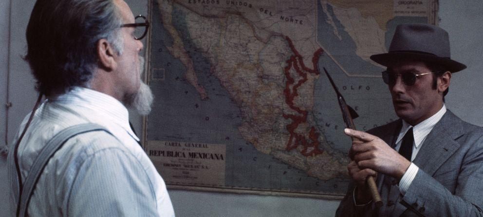 Foto: Rirchard Burton (izq.) y Alain Delon (dch.) interpretan a Trostsky y Mercader en El asesinato de Trotsky, de Jospeh Losey. (Corbis)