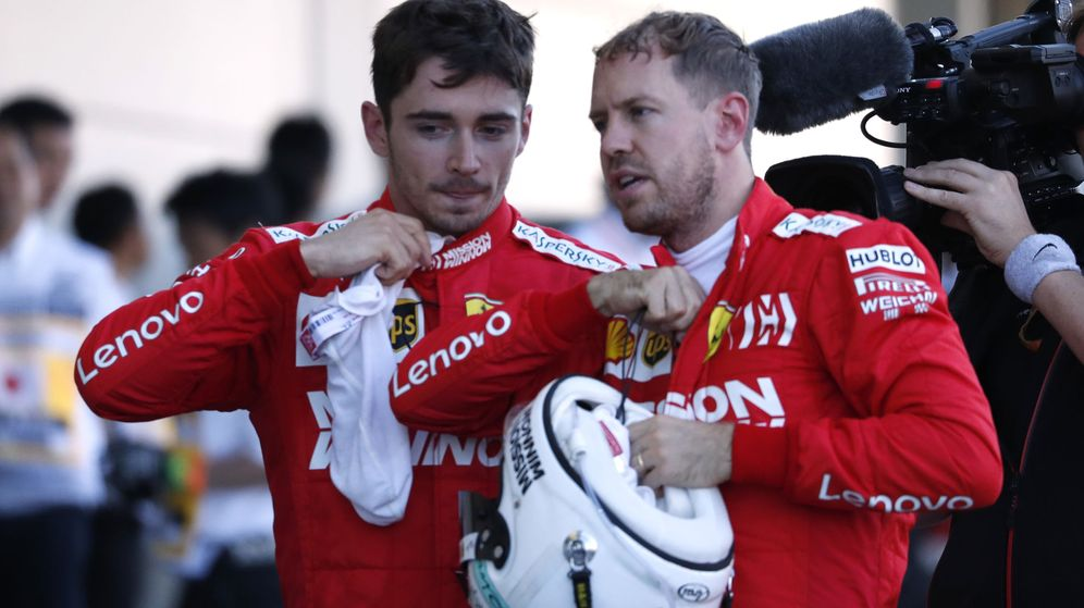Foto: Sebastian Vettel y Charles Leclerc tiraron por la borda un doblete en Japón. (Reuters)