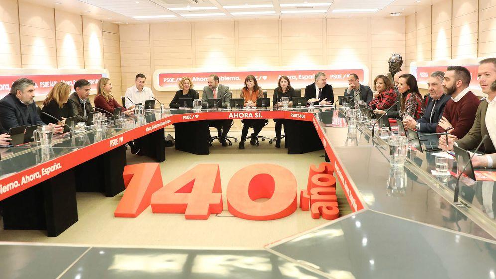 Foto: Cristina Narbona preside la reunión de la permanente de la ejecutiva federal del PSOE, este 18 de noviembre. (Inma Mesa | PSOE)