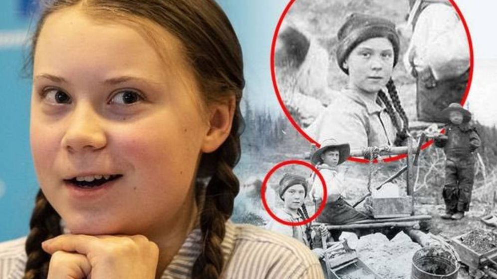 Foto: La foto que se ha hecho viral: Greta Thunberg y su doble de hace 120 años (Foto: Twitter)