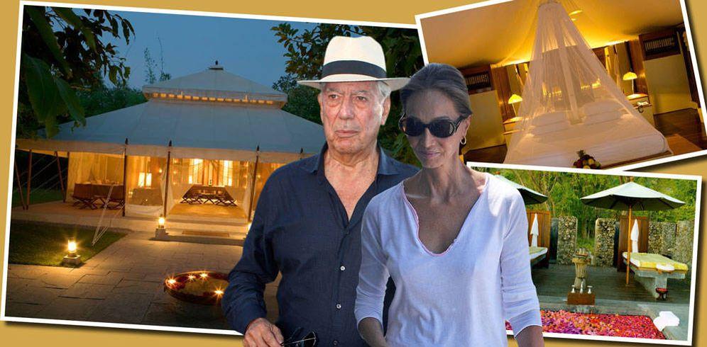 Foto: Mario Vargas Llosa e Isabel Preysler, en un fotomontaje elaborado en Vanitatis.