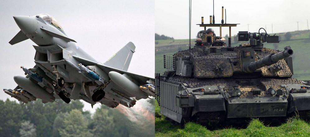 Foto: Un caza Eurofighter y un tanque Challenger 2, ambos desplegados por la OTAN en los Países Bálticos