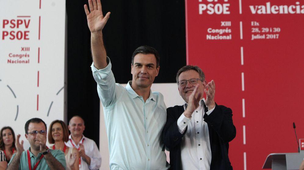 Foto: Pedro Sánchez y Ximo Puig, en la apertura del XIII Congreso del PSPV, este 28 de julio en Elx. (EFE)