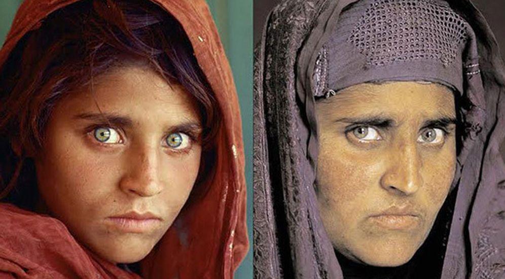 Foto: Sharbat Bibi (hoy Sharbat Gula), fotografiada en 1985 y en 2002 para 'National Geographic' (El Confidencial)