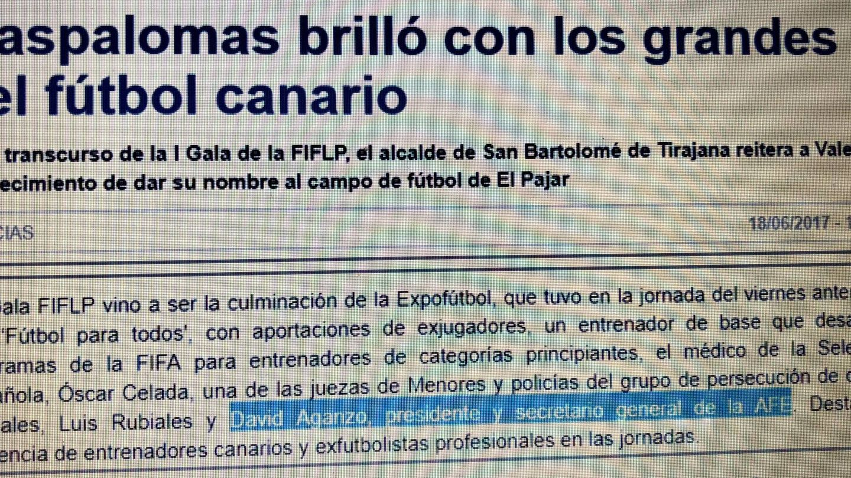 Artículo en el que se informa de la presencia de David Aganzo en Canarias