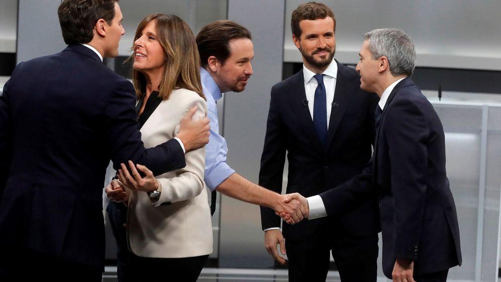 Foto: Los candidatos a la presidencia del Gobierno de Unidas Podemos, Pablo Iglesias (c), del PP, Pablo Casado (2d), y de Ciudadanos, Albert Rivera (i). (EFE)