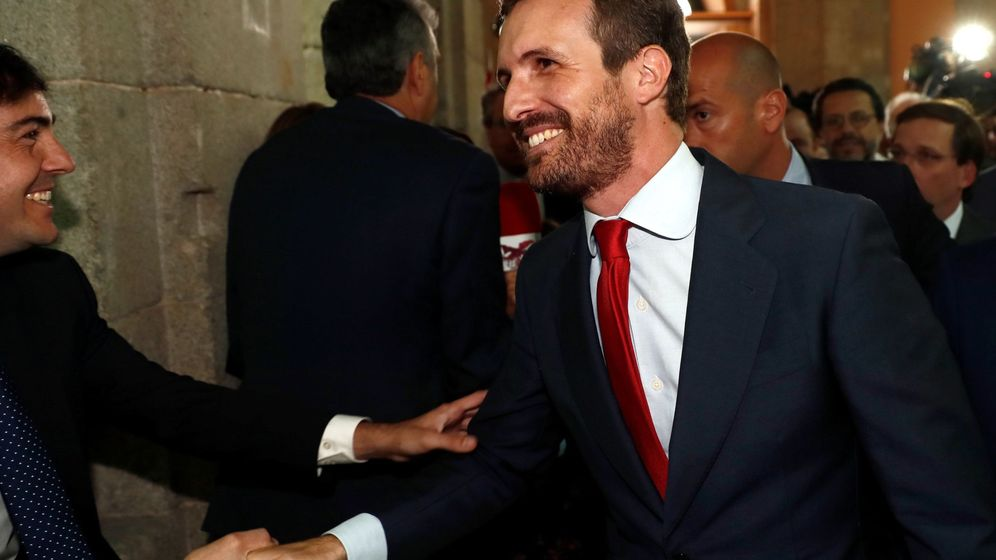 Foto: El presidente del PP, Pablo Casado, a su llegada este lunes a la Real Casa de Correos de Madrid. (EFE)
