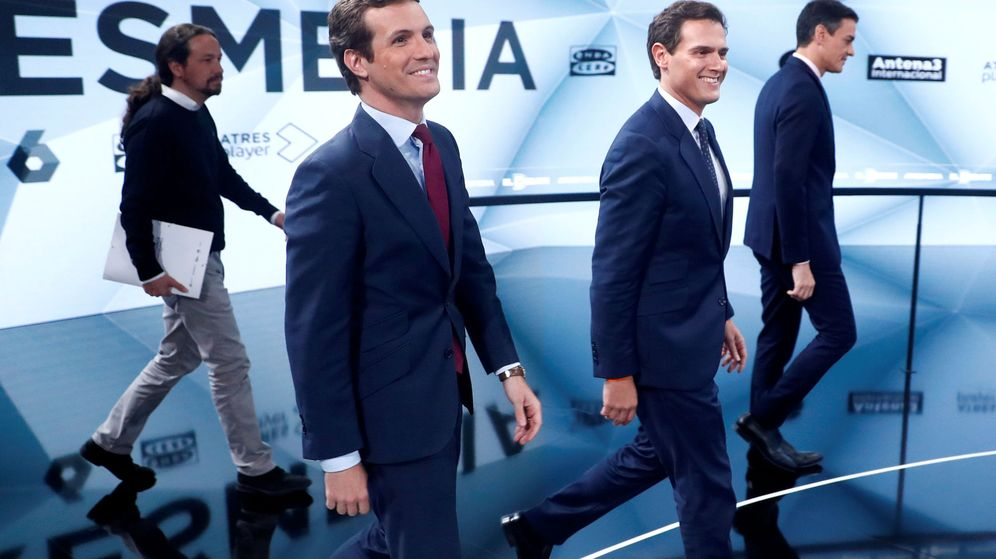 Foto: Los cuatro grandes candidatos a la presidencia del Gobierno en el debate de Atresmedia. (Reuters)