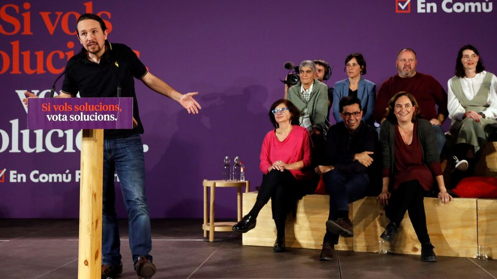 Foto: El candidato de Unidas Podemos, Pablo Iglesias (i), en un mitin en Barcelona junto a la alcaldesa Ada Colau (d) y el cabeza de lista de En Comú Podem, Jaume Asens. (EFE)