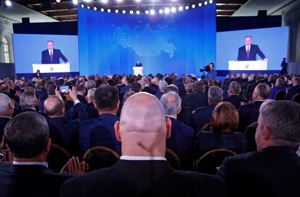 Foto: El presidente ruso, Vladimir Putin, pronuncia su discurso anual sobre el estado de la nación. (EFE)
