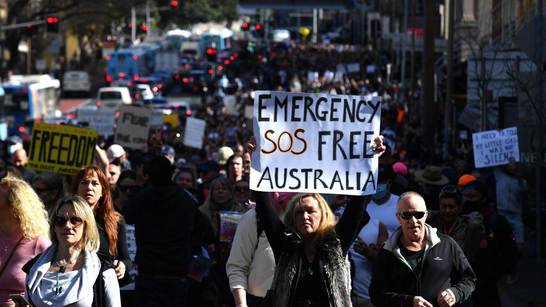 Protestas contra los confinamientos en Melbourne, Australia. (EFE)