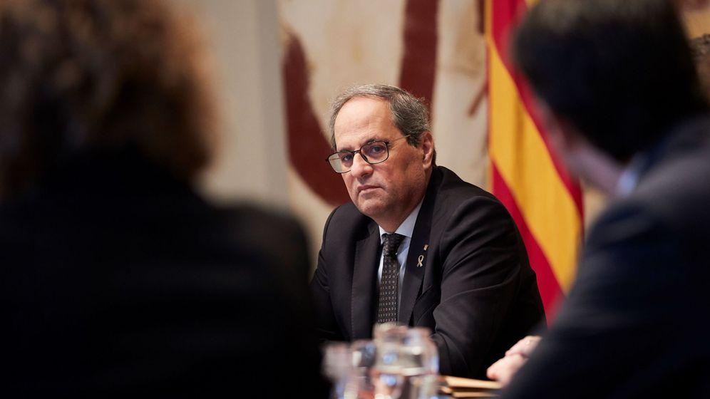 Foto: El presidente de la Generalitat, Quim Torra,durante la reunión semanal del gobierno catalán del pasado día 10. (EFE)