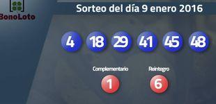 Post de Resultados del sorteo de la Bonoloto del 9 enero 2017: números 4, 18, 29, 41, 45, 48
