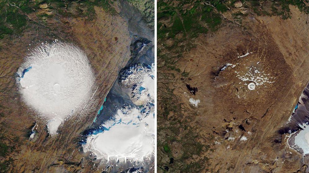 Foto: Dos fotografías del antes y el después del glaciar Okjokull: a la izquierda, en 1986; a la derecha, en la actualidad (Foto: NASA)