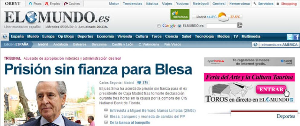 Foto: 'El Mundo' cobrará por sus contenidos en Internet a la vuelta del verano