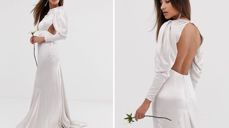 Vestido de novia en tono 'ostra' de Asos. (Cortesía)