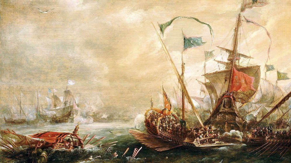Foto: Óleo de Van Eertvelt en el que se muestra un abordaje de los piratas berberiscos.