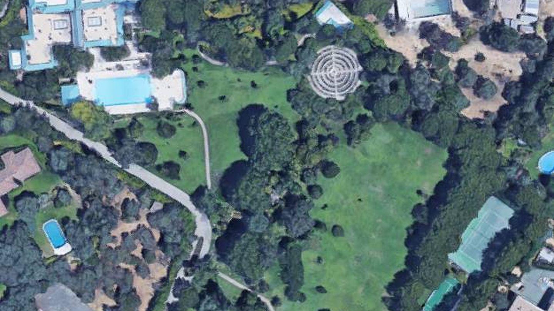 Vista aérea de la propiedad de Tita Thyssen en La Moraleja, Alcobendas, Madrid.