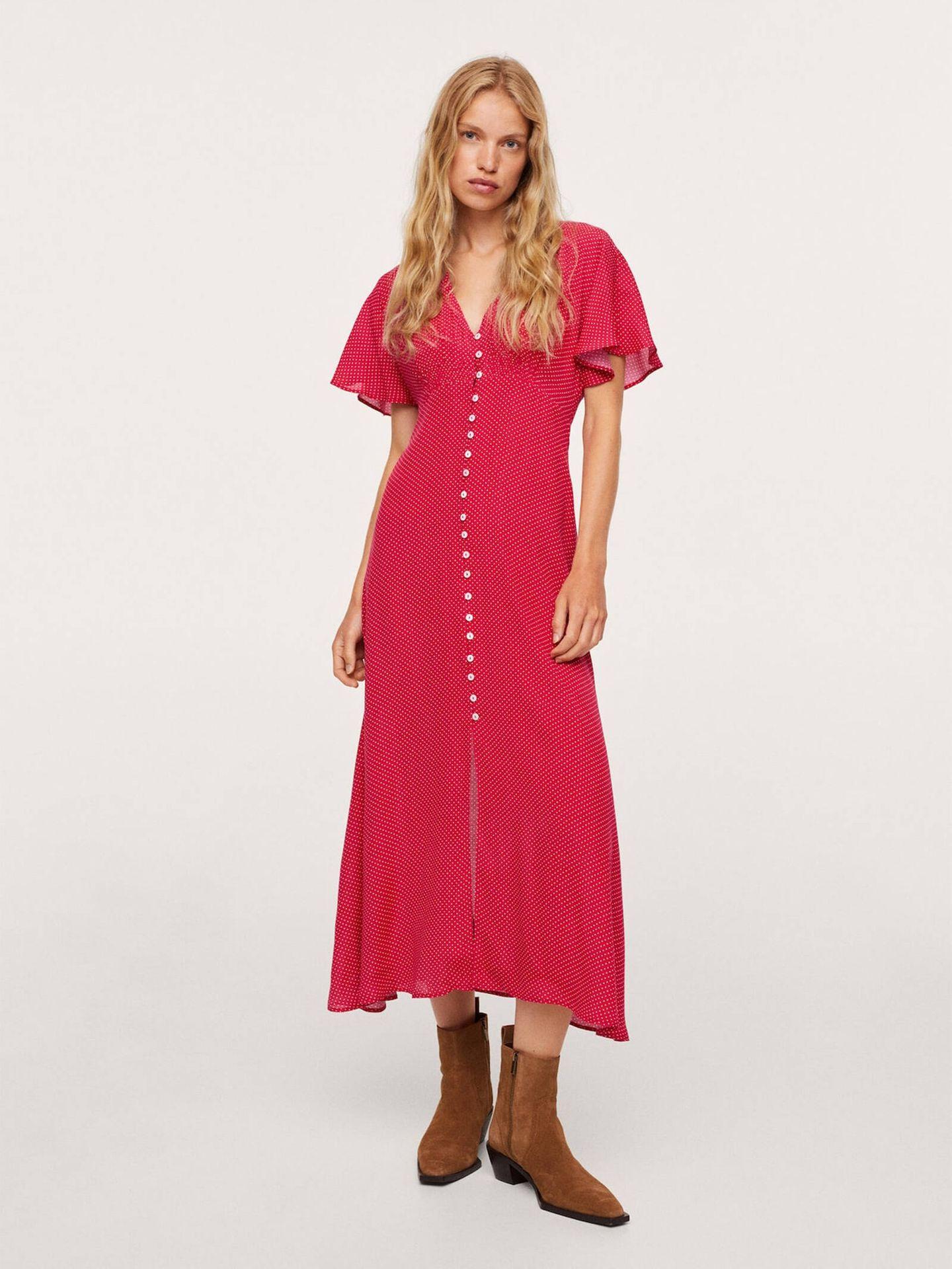 El espectacular vestido rojo de Mango que ha llevado Paula Echevarría. (Cortesía)