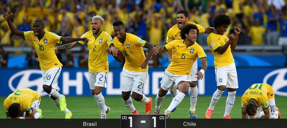 Foto: Sólo los penaltis justifican la grandeza de Brasil ante una Chile que roza la sorpresa