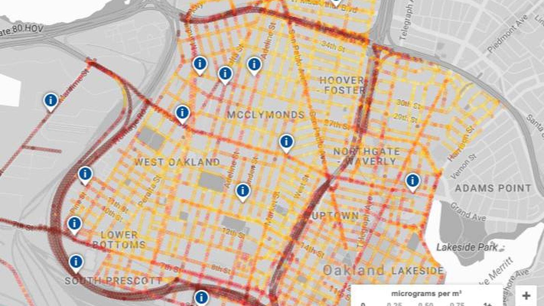 Medición de la contaminación en Oakland. (Google)